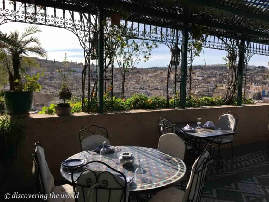 Roof terrace of the hotel in Fes