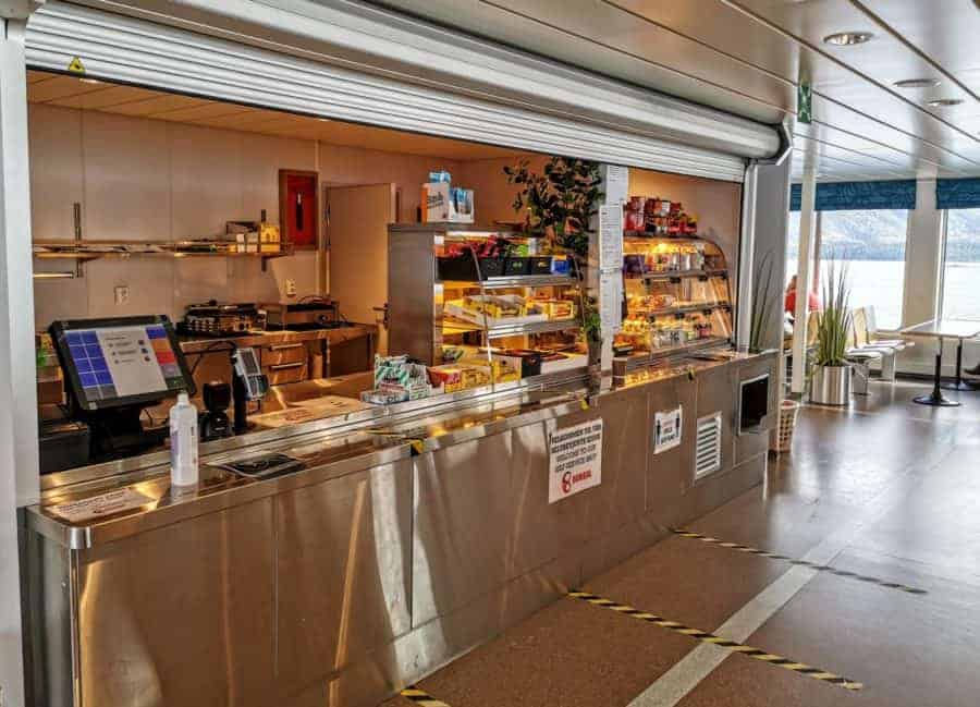 Self-service store on the ferry